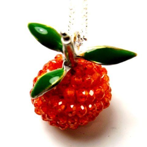 Ciondolo Arancia con pietra opale di fuoco e smalto