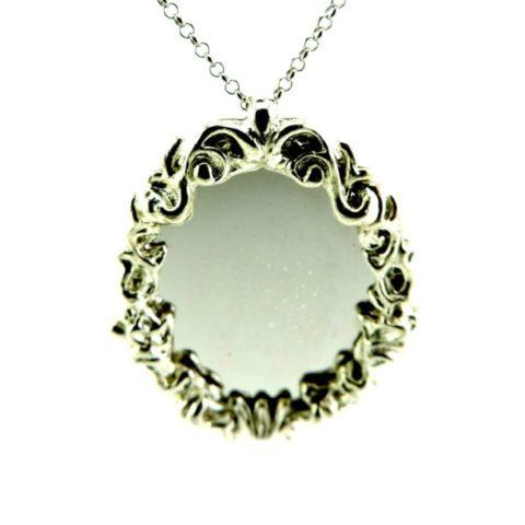 Collana Con Ciondolo A Forma Di Specchio Ovale Argento
