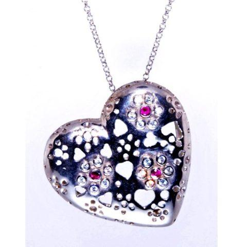 Ciondolo a cuore in argento con zirconi bianchi e colorati