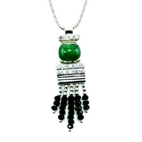 Collana in argento con smeraldo, zaffiri e spinello nero