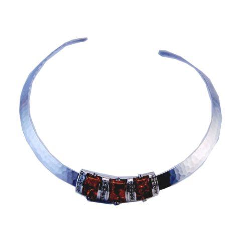 Girocollo in argento, ambra e zirconi bianchi