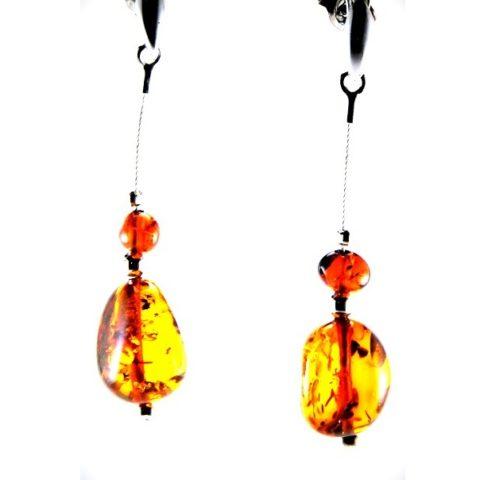 Orecchini ambra e argento artigianali