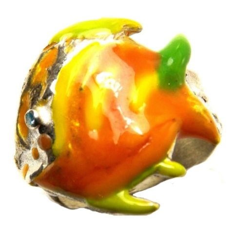 Anello Pesce in argento, zirconi colorati e smalti