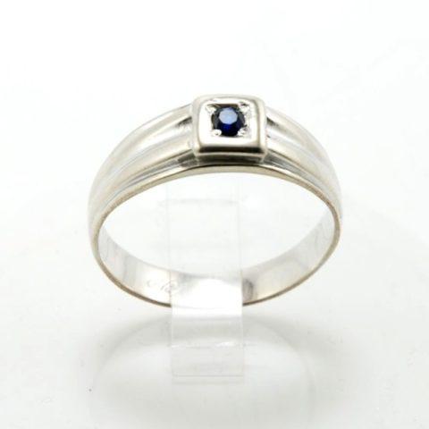 Anello da uomo in argento e pietra zaffiro blu