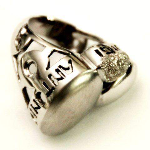 Anello in argento rodiato 925% personalizzabile