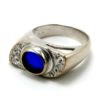 Anello in argento, zirconi bianchi e zaffiro blu