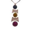 Ciondolo con catenina e chiusura in argento rodiato 925% (8,50 gr), pietre zaffiri blu, giallo e rosso (taglio briolet a forma coins).