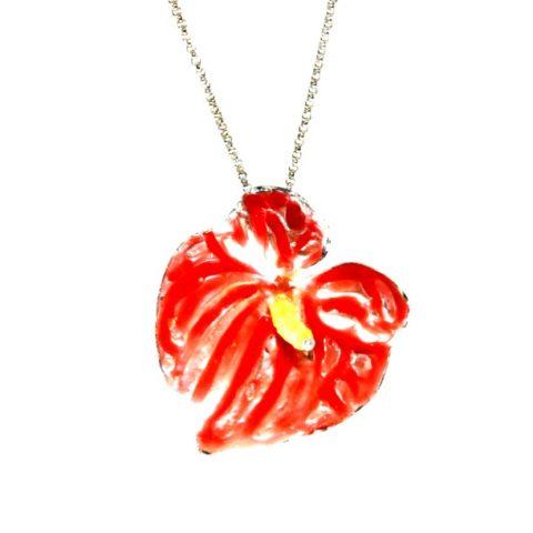 Fiore di Anthurium Rosso in argento, quarzo lemon e opale