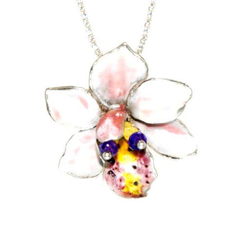 Fiore di Orchidea in argento, quarzo lemon e ametista