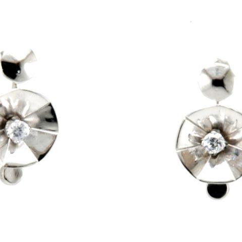 Orecchini a bottone in argento 925% con zirconi bianchi mobili