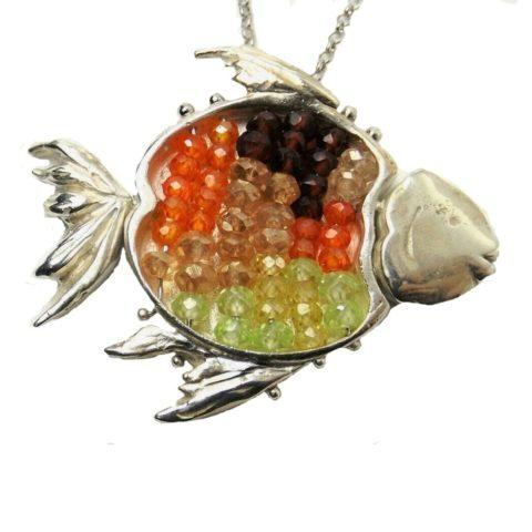 Ciondolo Pesce in argento, granato, zirconi, opale e quarzo